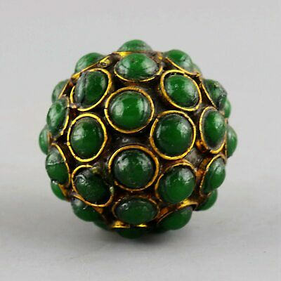 Collect China Old Bronze Inlay Jadeite Hand-Carved Unique Delicate Ball Statue