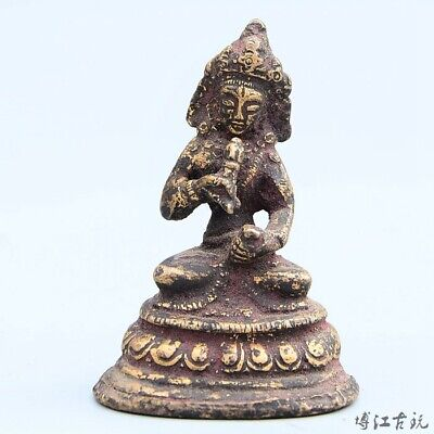 Collectable China Old Bronze Hand-Carved Buddhism Happy Buddha Decorate Statue