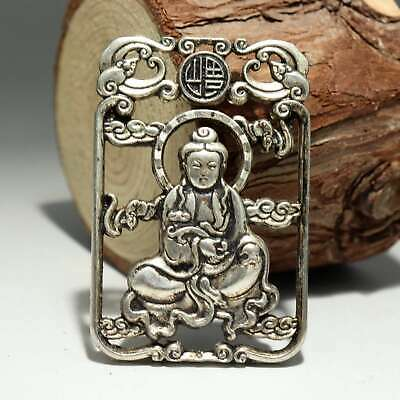 Collectable China Old Miao Silver Hand-Carved Buddhism Kwan-Yin Delicate Pendant