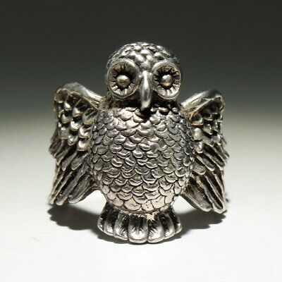 Collectable China Old Miao Silver Hand-Carved Delicate Lovely Owl Decorate Ring