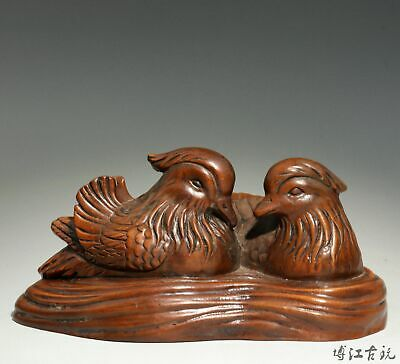 Collect China Old Boxwood Hand-Carved Mandarin Duck Luck Delicate Decor Statue