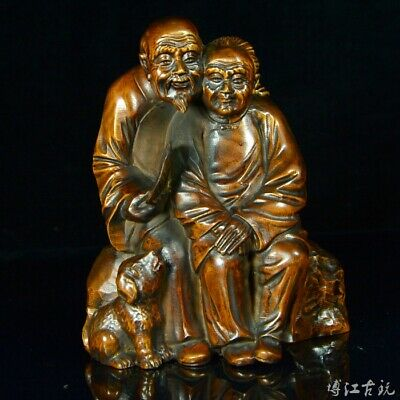 Collectable China Boxwood Hand-Carved Old Couple Delicate Happiness Decor Statue