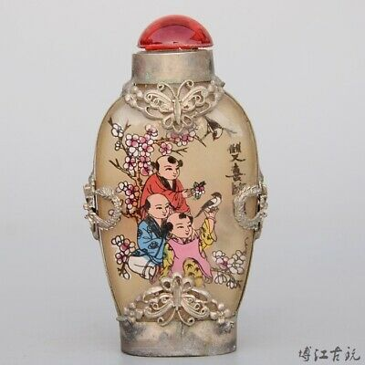 Collect Old Miao Silver Armour Glass Paint Fairchild Delicate Luck Snuff Bottle