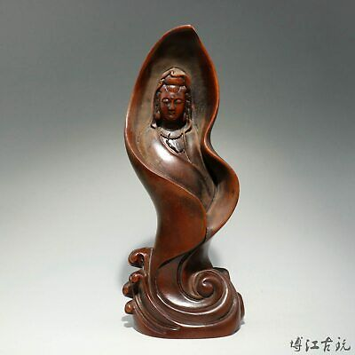 Collect China Old Boxwood Hand-Carved Buddhism Kwan-Yin Exorcism Decorate Statue