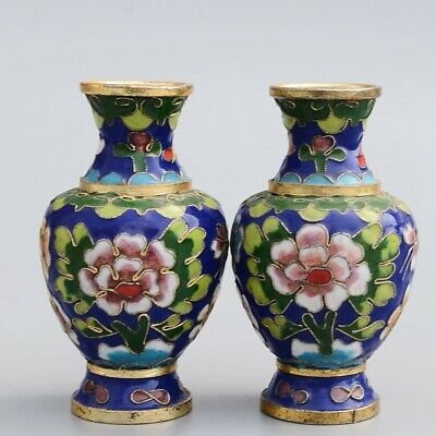 Collectable China Old Cloisonne Hand-Carved Bloomy Flower Delicate A Pair Vase