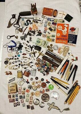 *HUGE Junk Drawer Lot Vtg Antique Marbles Stamps Keys Pens Lighters & More*
