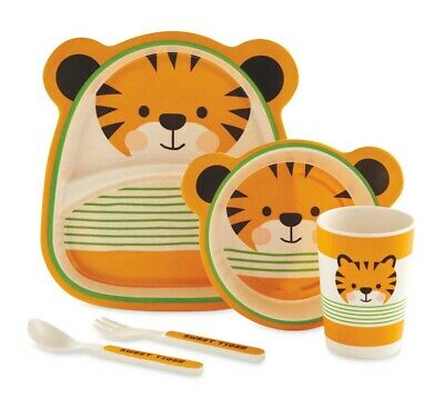 Bamboo Eco Friendly Dinner Feeding Set Tiger Weaning Travel Picnic Gift Boxed