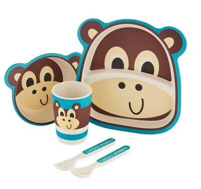 Bamboo Eco Friendly Dinner Feeding Set Monkey Weaning Travel Picnic Gift Boxed