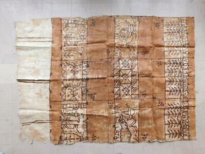 T4 Vintage Polynesian Traditional Hand Painted Tapa Cloth Tonga Fiji Pacific