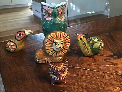 Vintage Mexican FOLK ART Paper Mache & Carved Wood Animal FIGURES Owls Snail