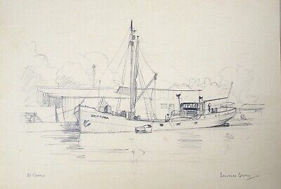 Laurence Dunn (1909-2006) Drawing. Cargo ship 'Drittura' at Exeter.
