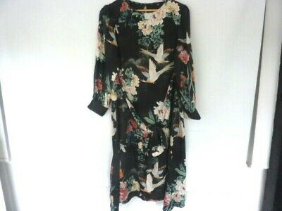 NWT ZARA AW18 FLOWING LONG FLORAL PRINT SHIRT DRESS BLACK 4786//275 /_XS S M L XL