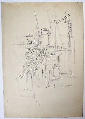 Laurence Dunn (1909-2006) Pencil drawing. Nato Exercises. Warship