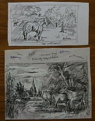 Horses In A Landscape 2 Drawings By Edward Morgan - Artist And Illustrator