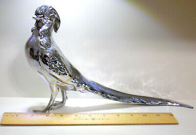 "Silver Metal Pheasant Figurine 13"" Long"
