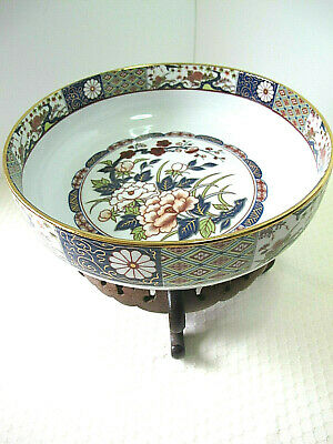 "Wonderful Vintage Large Asian Imari Bowl- 9"" Diameter-Signed-Hand Painted"