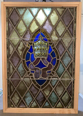 LG Antique STAINED LEADED GLASS Old CROWN PAINTING Architectural Salvage WINDOW