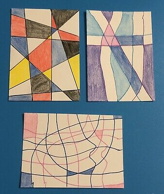 Three Original ACEO Art Cards - Abstract Art - Ink And Colored Pencil On Paper
