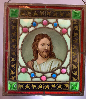 19thC Antique VICTORIAN JEWELED Portrait PAINTING JESUS Old STAINED GLASS WINDOW