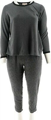 Stan Herman French Terry 2-Pc Jogger Lounge Set Charcoal 1X NEW A294378