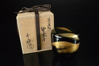 Z2759: Japan Wooden Lacquer ware Mountain pattern TEA CADDY Natsume w/signed box