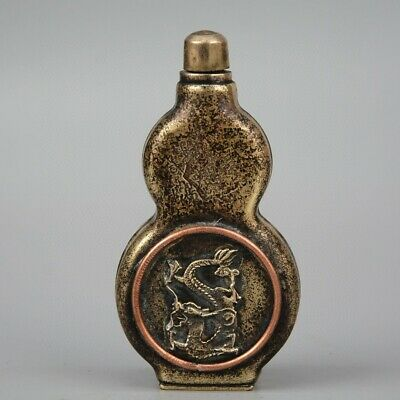 Collectable China Old Bronze Hand-Carved Myth Dragon Cucurbit Shape Snuff Bottle