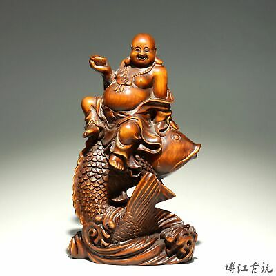 Collectable China Old Boxwood Hand-Carved Happy Buddha Ride Fish Buddhism Statue