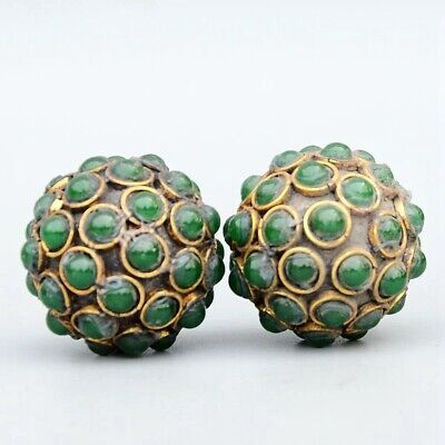 Collectable China Old Bronze Inlay Agate Hand-Carved A Pair Ball Delicate Statue