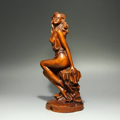 Collect China Old Boxwood Hand-Carved Elegant Nude Belle Delicate Decor Statue