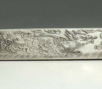 Collectable China Old Miao Silver Hand-Carve Myth Dragon Luck Paperweight Statue