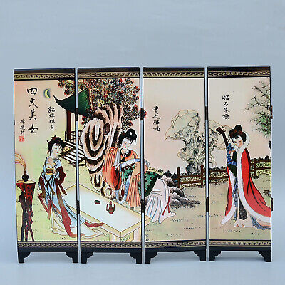 Collect Old Woodware Hand Paint Four Big Beautiful Women Delicate Screen Statue