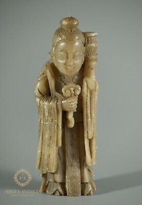 Antique Chinese Carved Soapstone Deity Figure