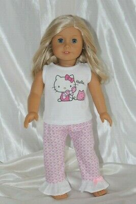 Doll Clothes fits 18 inch American Girl Dress Outfit Pajamas Hello Kitty