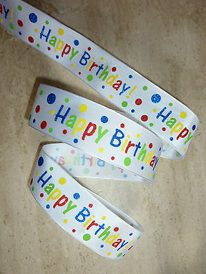 Gift Wrap Bows 1M HAPPY BIRTHDAY Wired Ribbon Cake Present Wrapping Paper