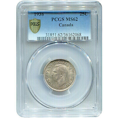 Canada 25 Cents Silver 1938 MS62 PCGS