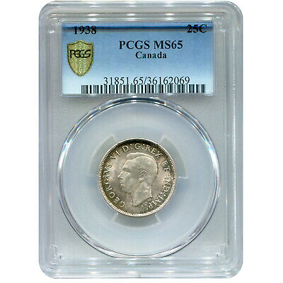 Canada 25 Cents Silver 1938 MS65 PCGS