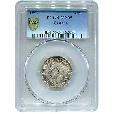 Canada 25 Cents SIlver 1941 MS65 PCGS
