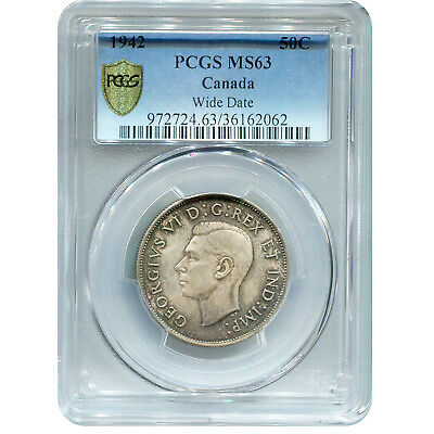 Canada 50 Cents SIlver 1942 Wide Date MS63 PCGS