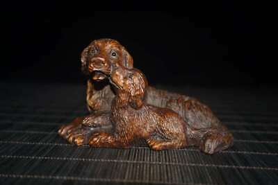 Chinese Exquisite Boxwood Hand carved Dog Statue 11002
