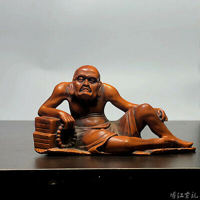 Collectable China Old Boxwood Hand-Carved Master Of Zen Delicate Decorate Statue