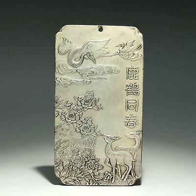 Collect China Old Miao Silver Hand-Carved Deer & Crane Delicate Decor Pendant