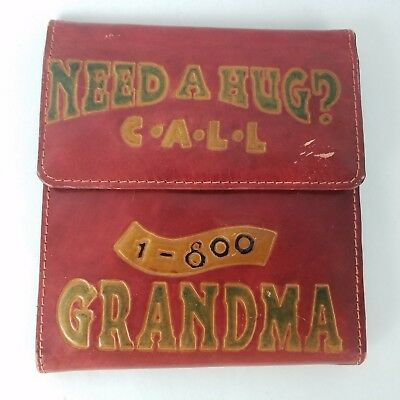 Vintage Need a Hug Call 1 800 Grandma Genuine Leather CD Case 1996 Wallet )E