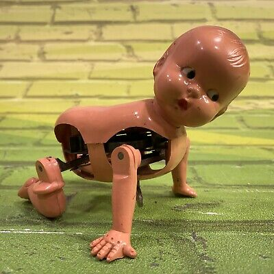 Vintage Irwin Wind-Up Mechanical Crawling Toddler Baby Doll Made In USA