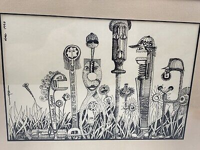 "Framed Pen And Ink Drawing Signed 1990 People Are Tools 10.5"" By 7"""
