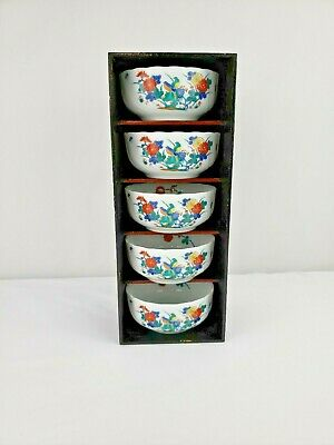 Set of 5 Vintage Japanese Imari Ware Porcelain Bowls White with flowers birds