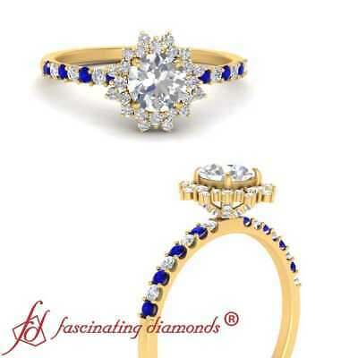 1 Carat Round Cut Diamond And Sapphire Gemstone Yellow Gold Halo Engagement Ring
