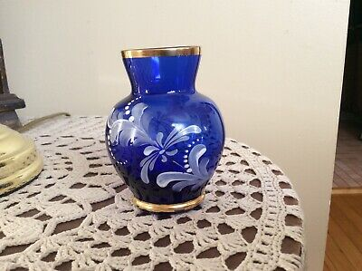 Vintage cobalt blue vase with gold, hand painted flowers