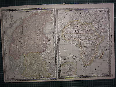 1890 Large Antique Map ~ Africa Nile Delta Railroads Canal Persia Rand Mcnally