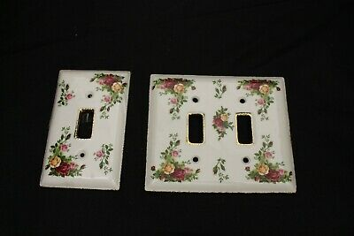 Two Rare Old Country Rose Royal Albert Light Plate Covers Mint Condition