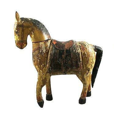 Old Horse Statue Handmade Antique Vintage Collectible Carved Painted Figure
